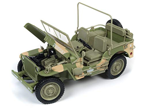(1941 Willys MB Jeep WWII Army Medic (15th Evacuation Hospital) Camouflage 1/18 Diecast Model Car by Autoworld AWML005 A)