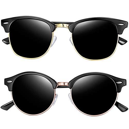 Joopin Semi Rimless Polarized Sunglasses for Men, Retro Brand 2 Pack Womens Sunglasses (Brilliant Black+Shiny Black)
