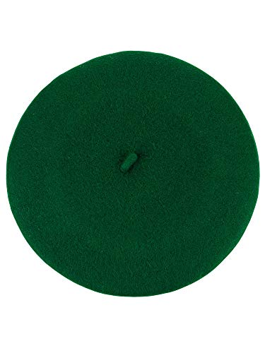 Green Womens Beret - NYFASHION101 French Style Lightweight Casual Classic Solid Color Wool Beret, Kelly Green