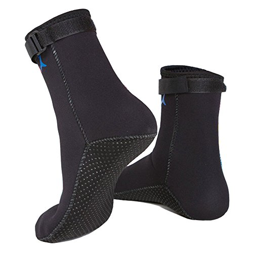 Water Shoes,Beach Socks Booties,Premium Men/Women/Girl 3mm Neoprene Boots Anti-Slip Diving Boot/Dive Boot/Snorkeling Socks Diver/Scuba Diving Shoes/Snorkel Boots/for Surfing,Water Sports (Black, L)
