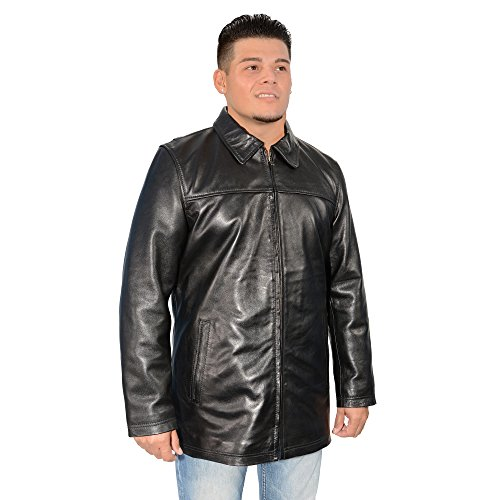 Milwaukee Leather Men's Classic Four Button Front Car Coat Black 2X-Large