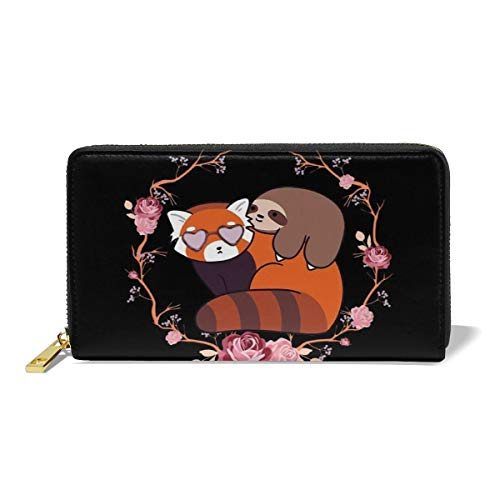 (Little Sloth And Red Panda Flower Women's Leather Wallet Clutch Bag Long Purse Organizer - 12 Slots Card Holder Leather For Teenage)