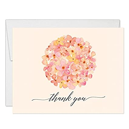 Pastel Peach Thank You Cards With Envelopes Pack Of 50 Blank Folded Delicate Flowers