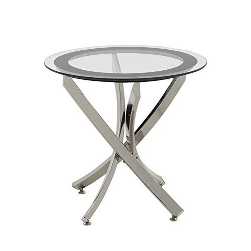 Norwood End Table with Tempered Glass Top Chrome and Clear Review