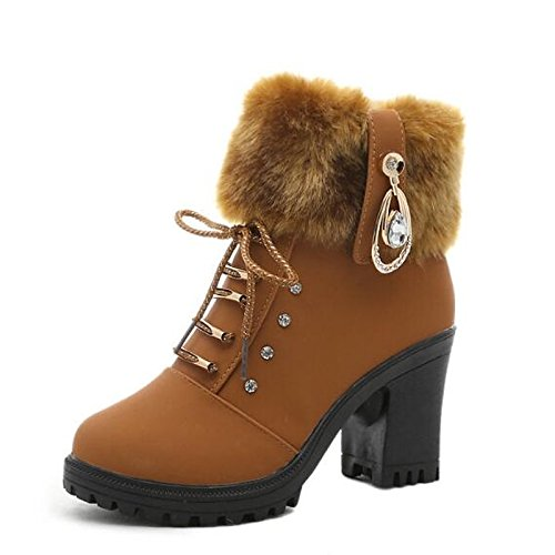 Chunky Boots Mid Women's Pom Black Brown Leather HSXZ Shoes Toe Boots Calf Winter Casual Real Fashion Boots Shoes Heel ZHZNVX pom Round Fall Black for OHq5T