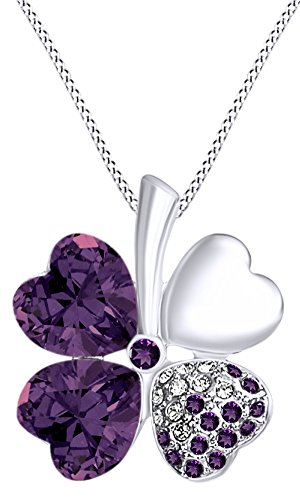 AFFY Luckiest Four Leaf Clover White Cubic Zirconia Pendant Necklace in 14K White Gold Over Sterling Silver