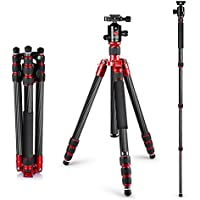 Neewer Carbon Fiber 63/160cm Tripod Monopod with 360 Degree Ball Head,1/4Quick Shoe Plate,and Bubble Level Including Carrying Bag for DSLR Camera,Video Camcorder,Load Capacity 33lbs/15kg