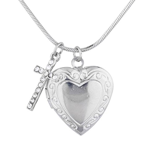 Lux Accessories Silver Tone Religious Communion Heart Cross Locket Necklace