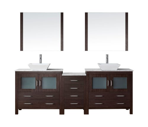 Virtu USA KD-70090-WM-ES Modern 90-Inch Double Sink Bathroom Vanity Set with Polished Chrome Faucet, (90 Series Faucet)
