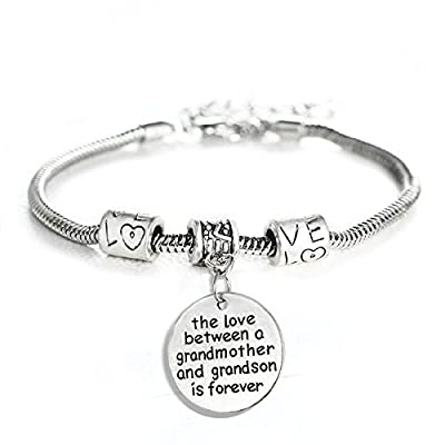 Love between a Grandmother and Grandson is Forever Charm Bracelet