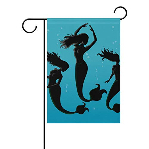 Home Garden Flags Mermaid Silhouette Pattern Double Sided Decorative House Flags Yard Flag Banner Spring Winter for Wedding Christmas Birtday Party Decorations -
