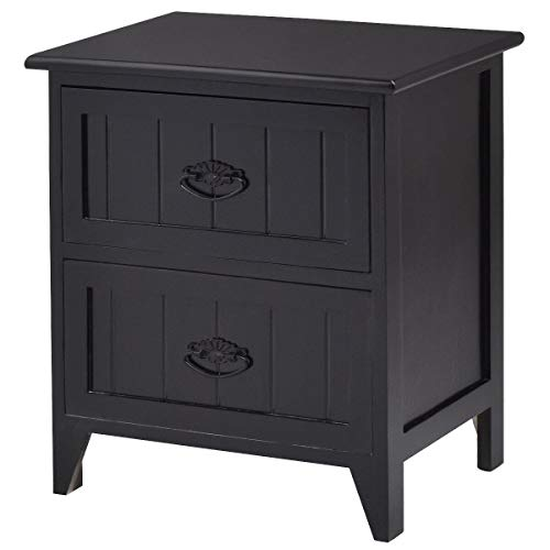 Giantex Nightstand Wooden Sofa Beside Table W/ 2 Drawers for Living Room Bedroom Side Storage Cabinet End Table (1, Black)