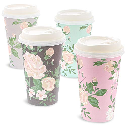 Juvale 48 Pack Vintage Floral Paper Insulated Coffee Cups with Lids, 4 Designs, 16 Ounces]()