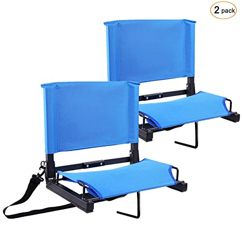 Ohuhu Stadium Chairs /Stadium Seats Bleacher Seats with Bungee Cord Cushion and Comfortable Backrest, Blue ()
