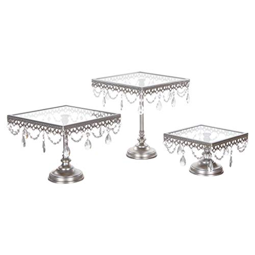 Amalfi Decor Glass-Top Square Cake Stand Set of 3, Dessert Cupcake Wedding Event Party Birthday Metal Display Pedestal (Silver) ()