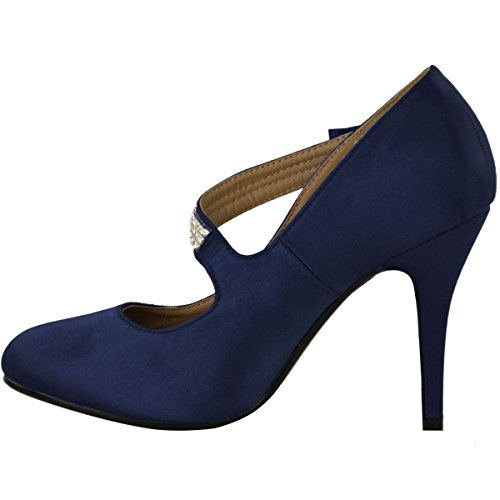 Größe Klassische Braut Schuhe Damen Party Heel Pumps High Hochzeit Branded Damen Satin Marineblau Prom 6wPBR6xf