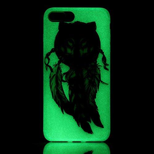 Coque Etui iPhone 7 / 8 Plus , Leiai Hiboux Noir Silicone Gel Case Avant et Arrière Intégral Full Protection Cover Transparent TPU Housse Anti-rayures pour Apple iPhone 7 / 8 Plus