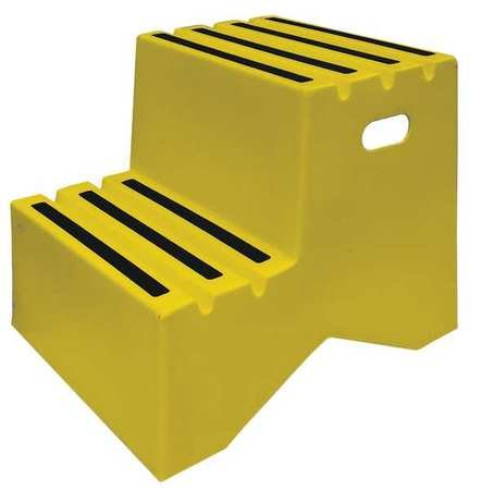 Step Stand, 2 Steps, Polyethylene, Yellow