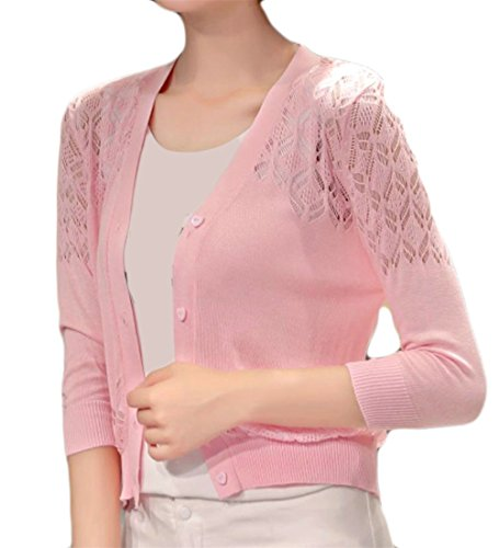 Pivaconis Women's 3/4 Sleeve Button up Hollow Cardigans Crop Knit Jacket Bolero Pink One-Size]()