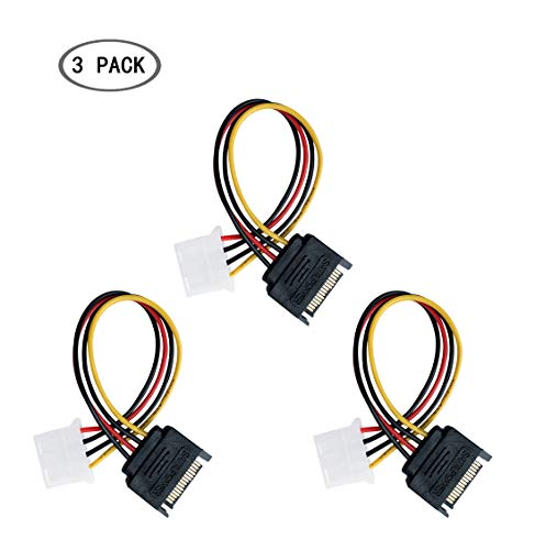 OOMIAK 3 Pack SATA 15 Pin Serial ATA Male to Molex LP4 Female Power Cable IDE 8-inch/20cm