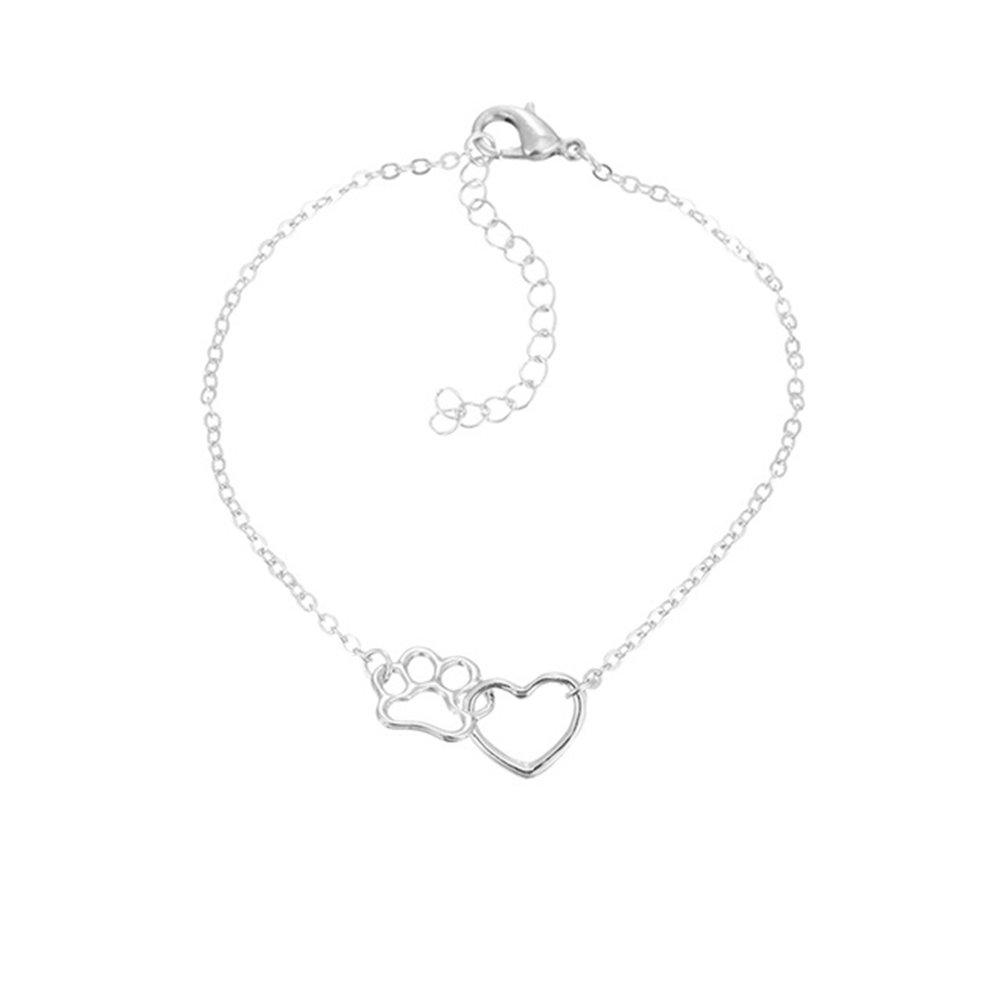 Gold Bracelet dwcly Romantic Love Heart Cute Pet Pawprint Necklace Charm Gift for Women Girls