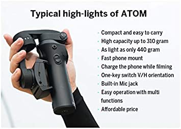 Alician for Atom 3-Axis Foldable Pocket-Sized Handheld Gimbal Stabilizer for iPhone Pink 3-Axis Stability