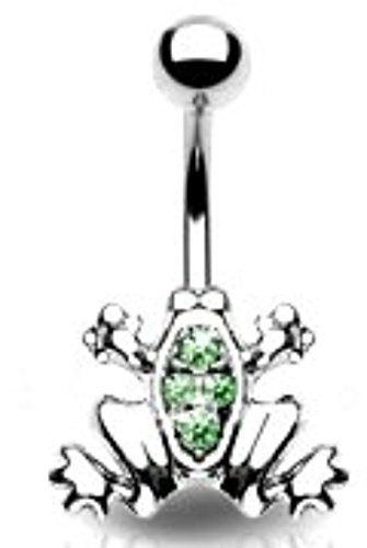 Belly Button Ring Navel Frog Body Jewelry Dangle 14 Gauge