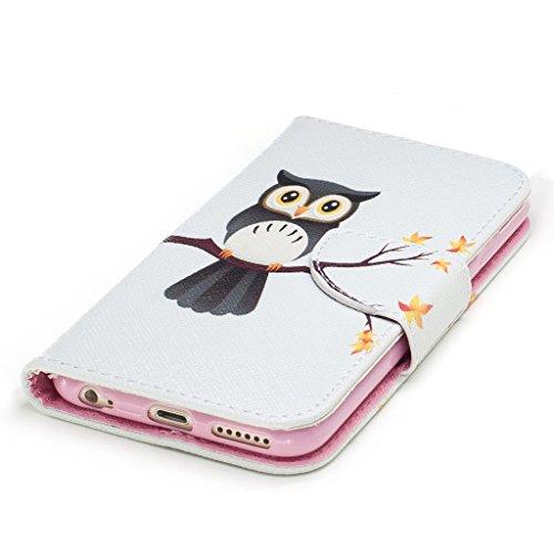 Crisant Große eule Drucken Design schutzhülle für Apple iPhone 6 6S 4.7'' (4,7''),PU Leder Wallet Handytasche Flip Case Cover Etui Schutz Tasche mit Integrierten Card Kartensteckplätzen und Ständer Fu