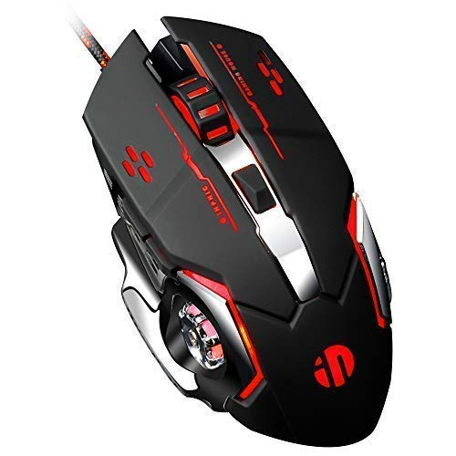 inphic Gaming Mouse USB Wired Optical Gaming Mice with LED Optical, 4 DPI Adjustment Levels, 6 Buttons for Laptop, PC, Mac (Metallic Black)