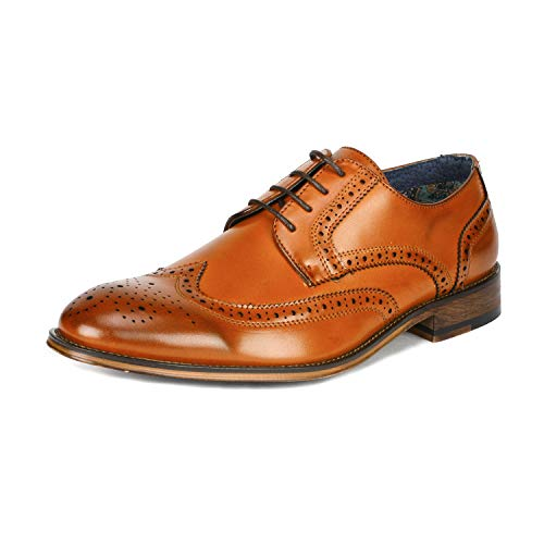 (Bruno Marc Men's Louis_1 Brown Classic Brogue Wing Tip Lace Up Soft Round Toe Oxfords Formal Dress Shoes Size 6.5 M US)