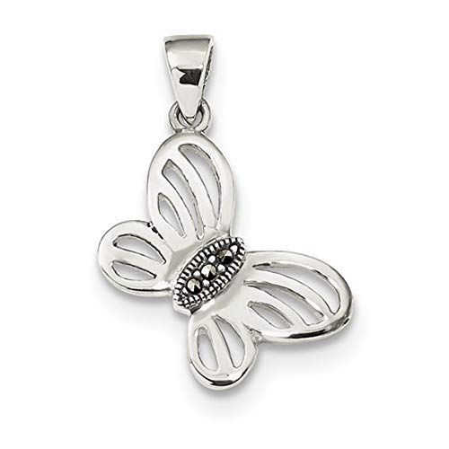 Center Marcasite - Solid .925 Sterling Silver Antiqued Marcasite Center Butterfly Pendant 28 mm