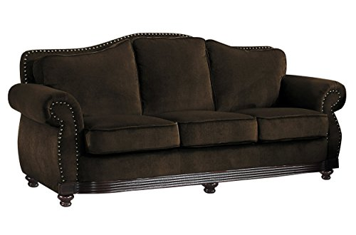 Homelegance Midwood Sophisticated Sofa with Nail Head Accent Chenille, Chocolate