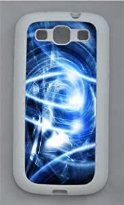 Abstract Blue Art TPU Silicone Rubber Case Cover for Samsung Galaxy S3 SIII I9300 White