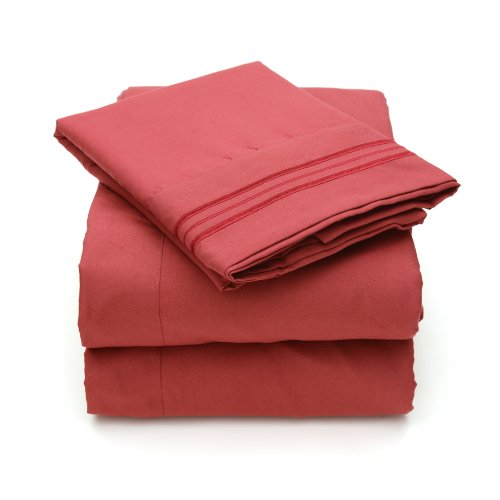 Sweet Home Collection 4 Piece 2000 12 Colors Collection Egyptian Quality Deep Pocket Bed Sheet Set, Queen, Burgundy