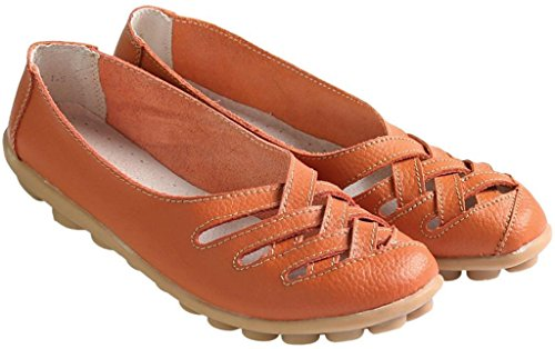 Fangsto Womens Kohud Dagdrivare För Läder Lägenheter Sandaler Slip-on Orange