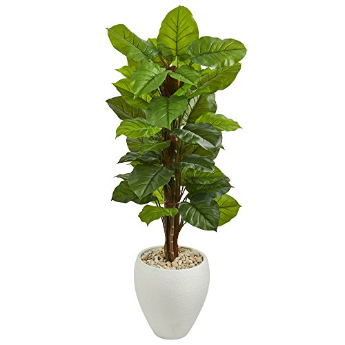 (Nearly Natural Large Leaf Philodendron in White Oval Planter, 5' )