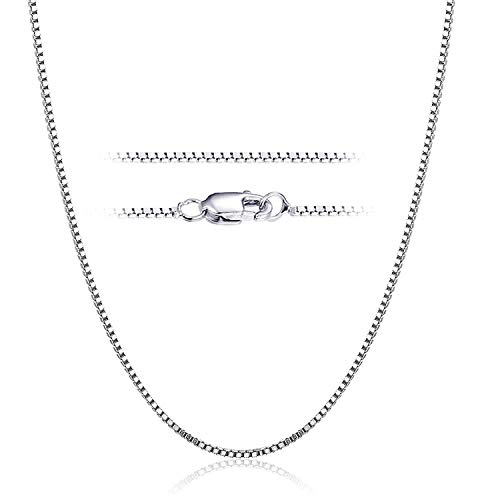 YFN Sterling Silver 0.8 mm Box Chain Necklace, 14