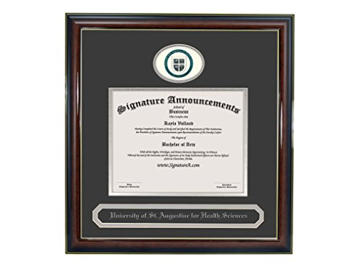 Signature Announcements Univ-of-St.-Augustine-for-Health-Sci-Master's Undergraduate, Graduate/Professional/Doctor Seal & Name Diploma Frame (Gloss Mahogany w/Gold Accent, 16 x 16) by Signature Announcements