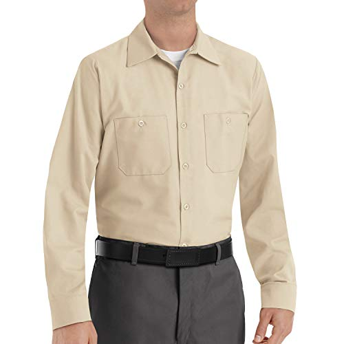 Days Left Until Halloween (Red Kap Men's Industrial Work Shirt, Regular Fit, Long Sleeve, Light Tan,)