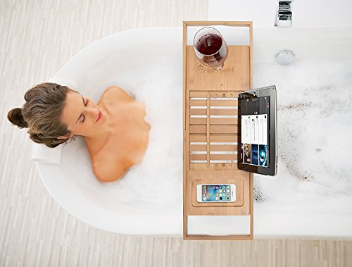 Premium Bamboo Bathtub Tray Caddy - Wood Bath Tray Expandable with Book and Wine Holder - Gift Idea for Loved Ones