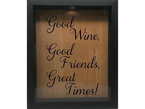 Wooden Shadow Box Wine Cork/Bottle Cap/Tickets 9x11 - Good Wine, Good Friends, Great Times (Ebony w/Black)