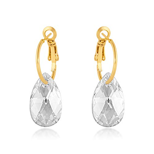 Small Drop Earrings with White Clear Pear Crystals from Swarovski Gold Plated