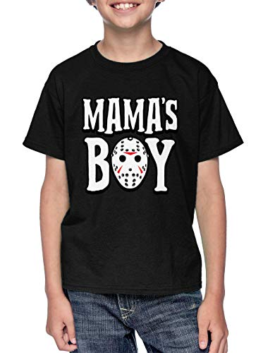 Mama's Boy - Jason Hockey Mask Halloween Youth T-Shirt (Black, Large)