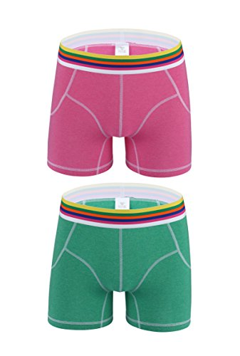 Nuofengkudu Mens Performance Active Sporty Long Boxer Briefs Trunk Bright Color Shorts Underwear Pants Pack(Pink-LightGreen S) (Mens Boxer Briefs Bright Colors)