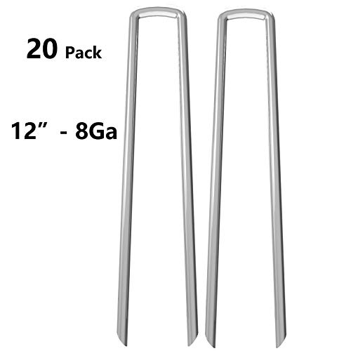 (OuYi 12 Inch Galvanized Garden Tent Stakes Landscape Staples 8 Gauge Steel Sod and Fence Stake for Anchoring Tents Landscape Fabric Extra Heavy Duty 20 Packs)