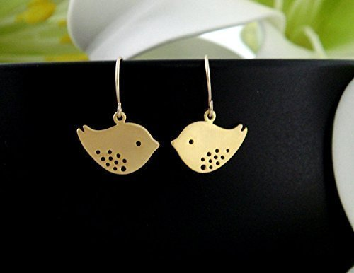Bird Earrings, Mod Birds, Gold or Silver or Rose Gold, Cute Birthday or Flower Girl (Mod Birds)