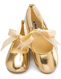 Girls Adorable Ballerina Mary Jane Flats Ribbon Tie Shoes