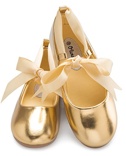 OLIVIA K Girls Adorable Ballerina Mary Jane Flats Ribbon Tie Shoes