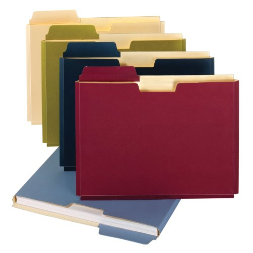 Globe-Weis/Pendaflex File Folder Pockets, 150 Sheet Capacity, Letter Size, Double Top, 1/3 Cut Tabs, Assorted Colors, 10 Pack (FP153L10 ASST) Cut Asst Top Tab