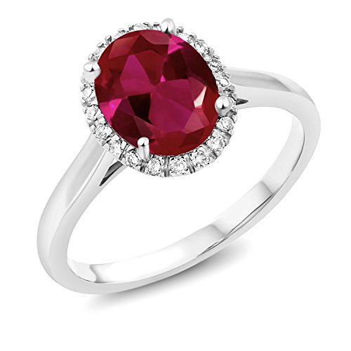 Gem Stone King 10K White Gold Red Created Ruby Women's Ring 2.00 Ct Oval Cut Available in size 5, 6, 7, 8, -